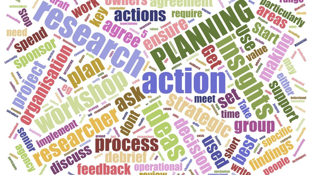 Action planning is critical for ensuring research is used effectively in an organisation