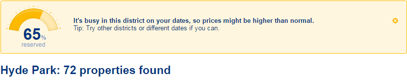 Image from Booking.com showing location has high demand
