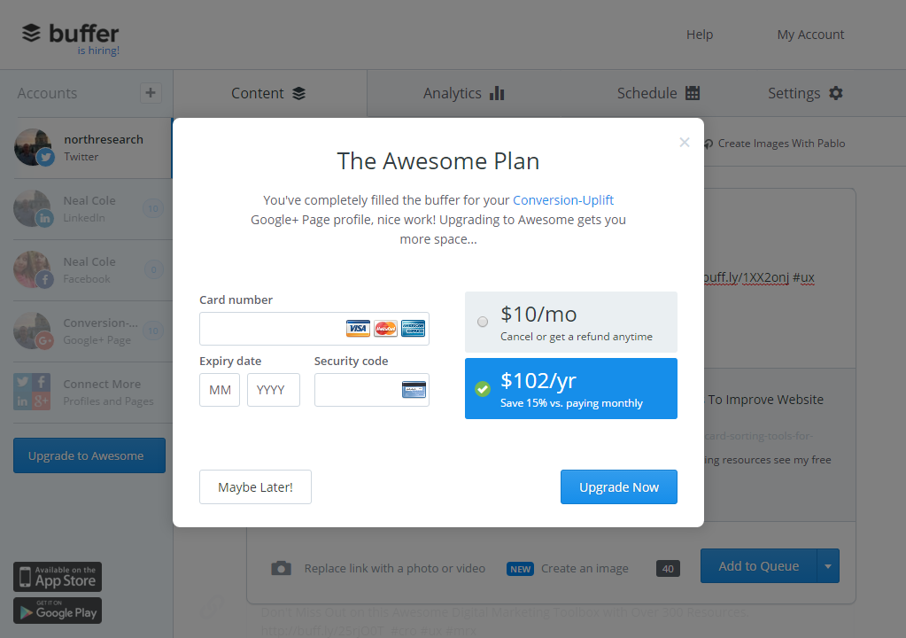 Image pop-up for when Buffer is full for free plan