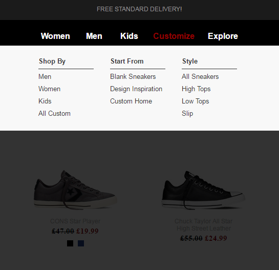 Image of Customize option on Converse trainers website