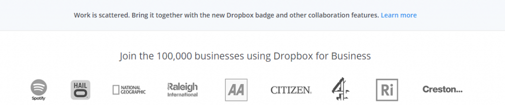 Image of social proof on Dropbox.com