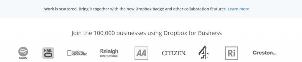 Image of social proof on Dropbox.com