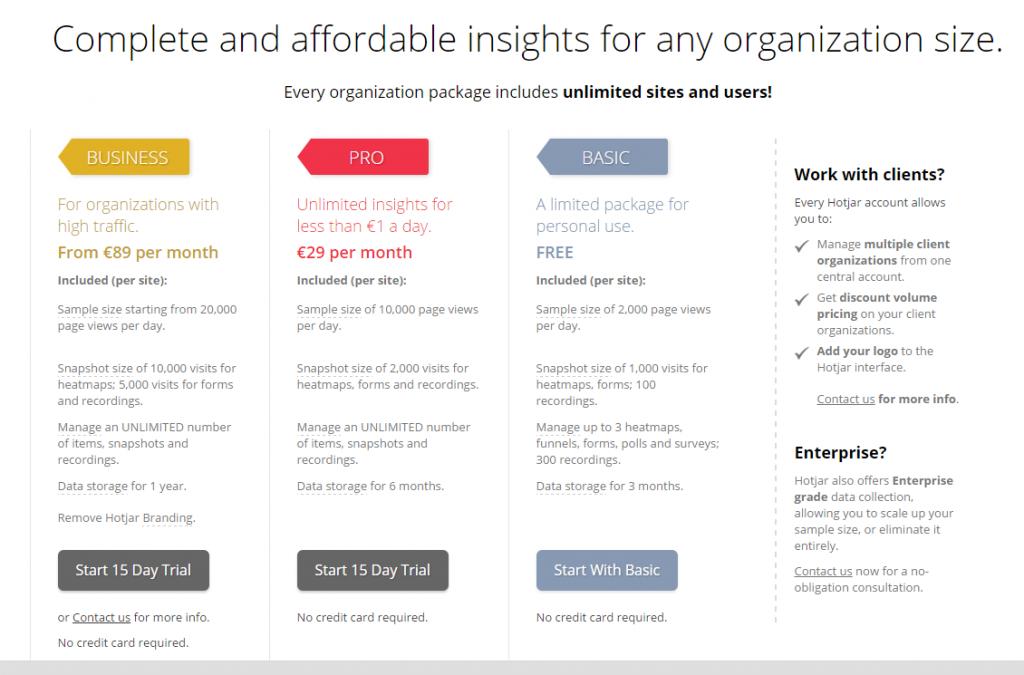 Image of Hotjar.com pricing options