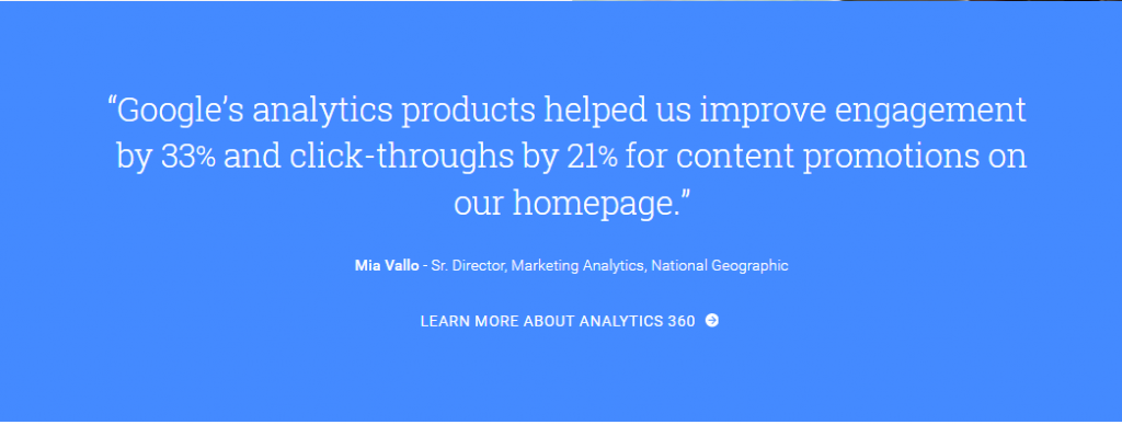 Image of testimonial on Google Analytics homepage
