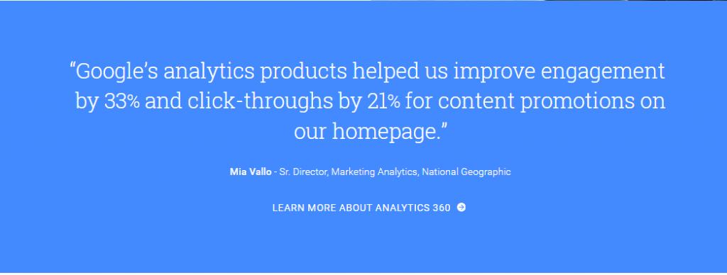 Image of testimonial on Google Analytics homepage