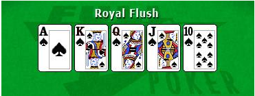 Image of royal flush poker hand