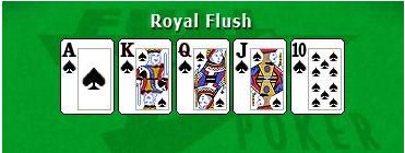 Image of royal flush poker hand