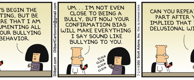 Image of Dilbert cartoon with confirmation bias