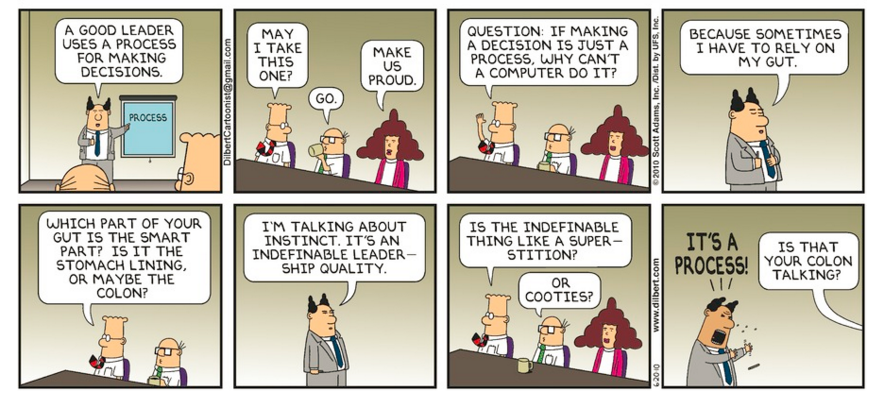 Image of Dilbert cartoon where boss explains decision making process