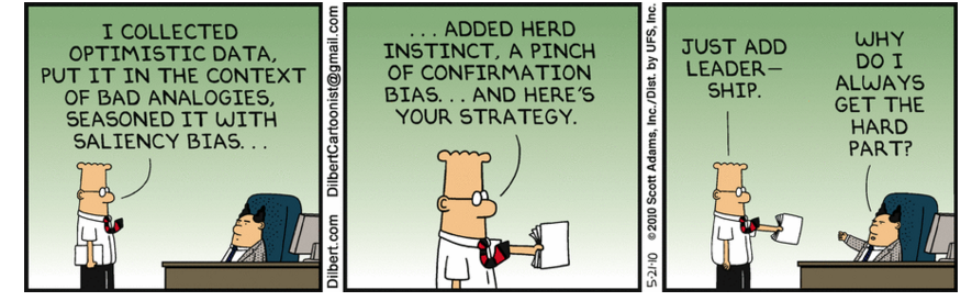 Image of Dilbert cartoon where data with human biases is given to boss