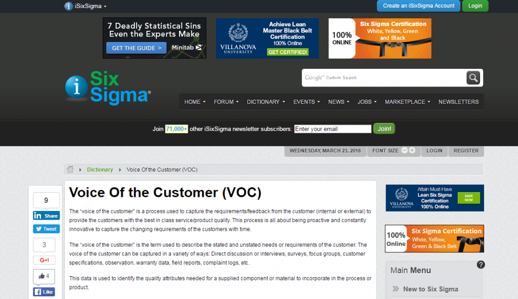 SixSigma Voice of Customer