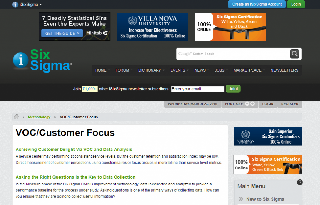 SixSigma VoC Customer Focus