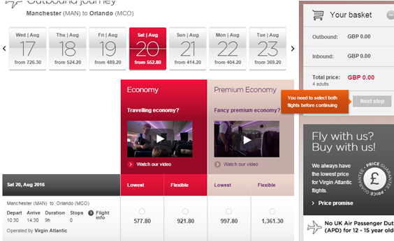 Image of tool tips on Virginatlantic.com