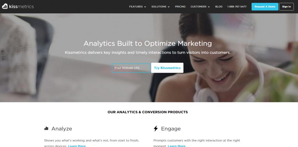 Image of Kissmetrics.com homepage