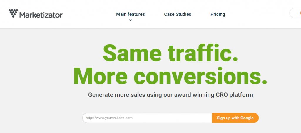 Image of Marketizator.com homepage
