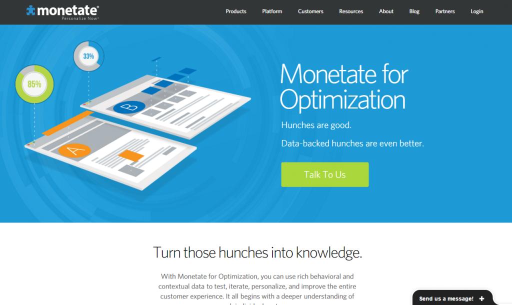 Image of Monetate.com homepage