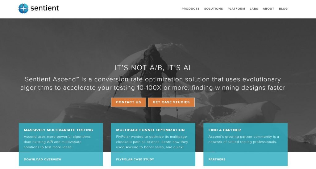 Image of Sentient Ascend AI multivariate testing homepage