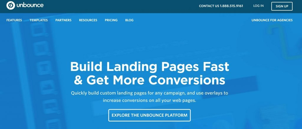 Image of Unbounce.com homepage