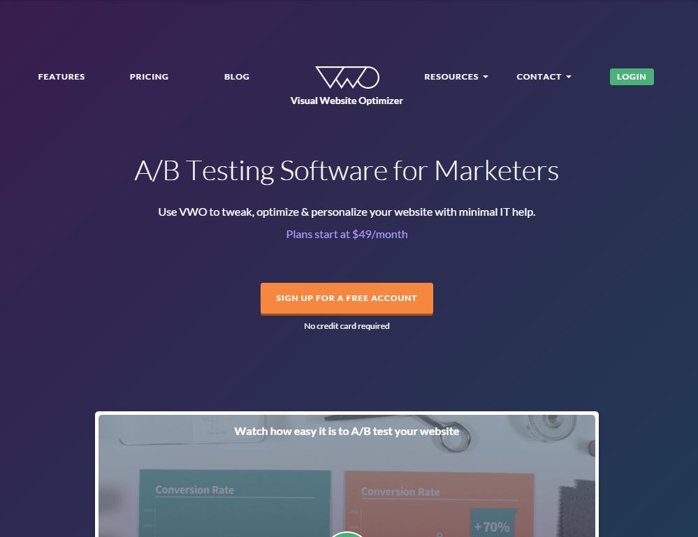 Image of VWO.com homepage