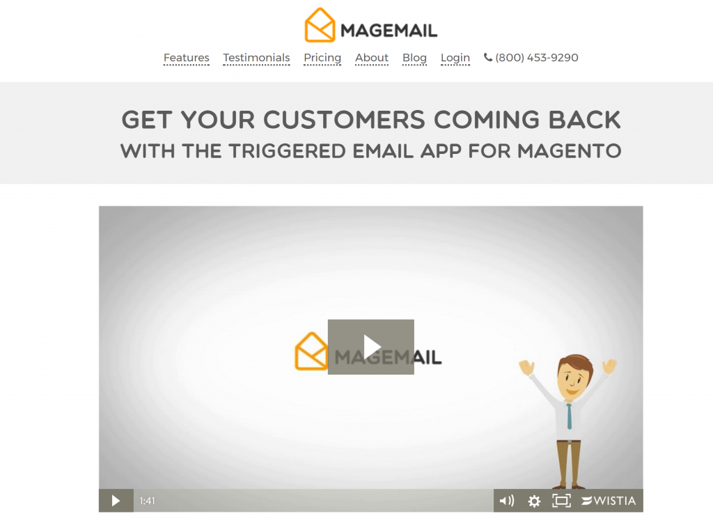 Image of MAGEMAIL.co shopping cart abandonment features page