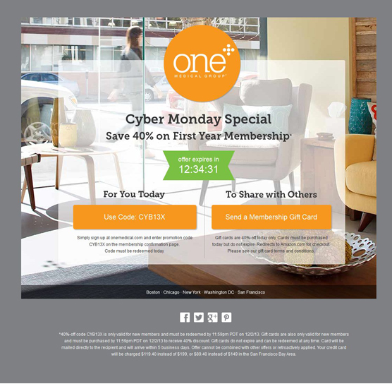 One Medical Group Cyber Monday landing page