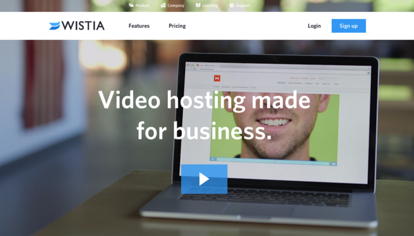 Image of Wistia.com landing page using curiosity