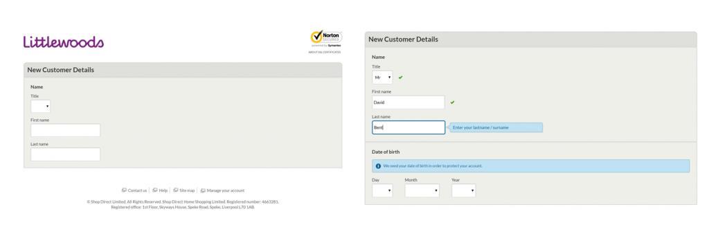Image of step 1 of Littlewoods.com registration form
