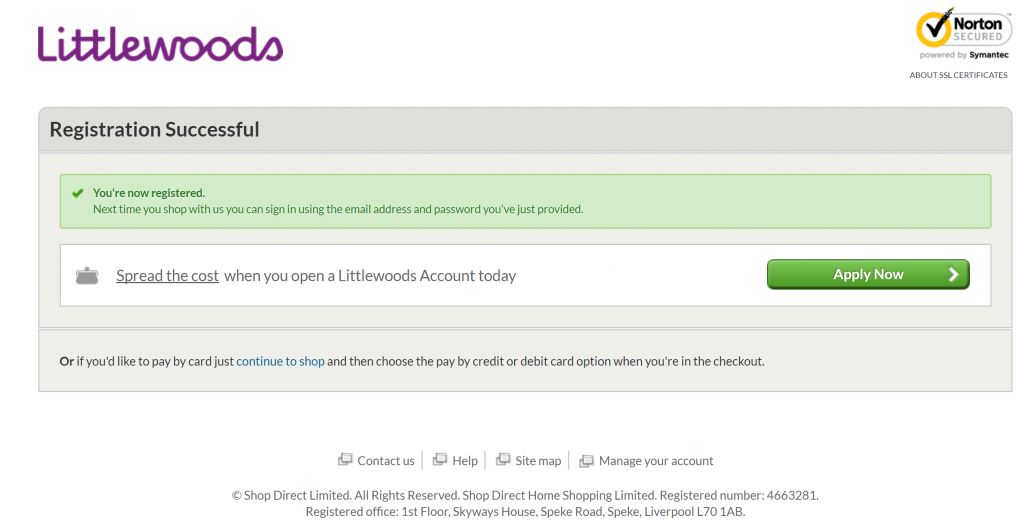 Image of Littlewoods.com registration successful page