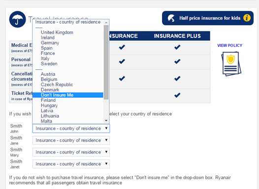 Image of Ryanair Insurance - country of residence