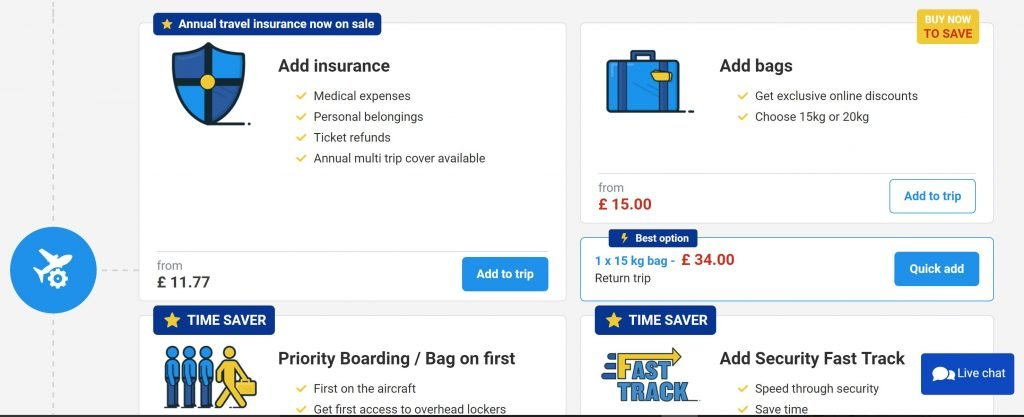 Image of 2017 Ryanair travel insurance user interface