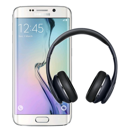 Image of a Samsung Galaxy S6 Edge and headphones