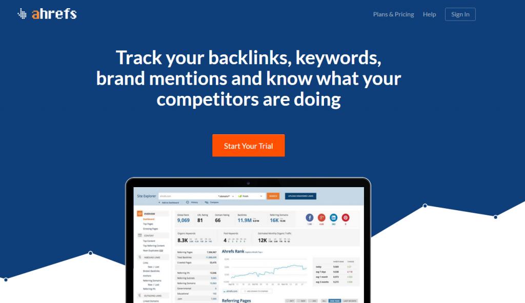 Ahrefs homepage image