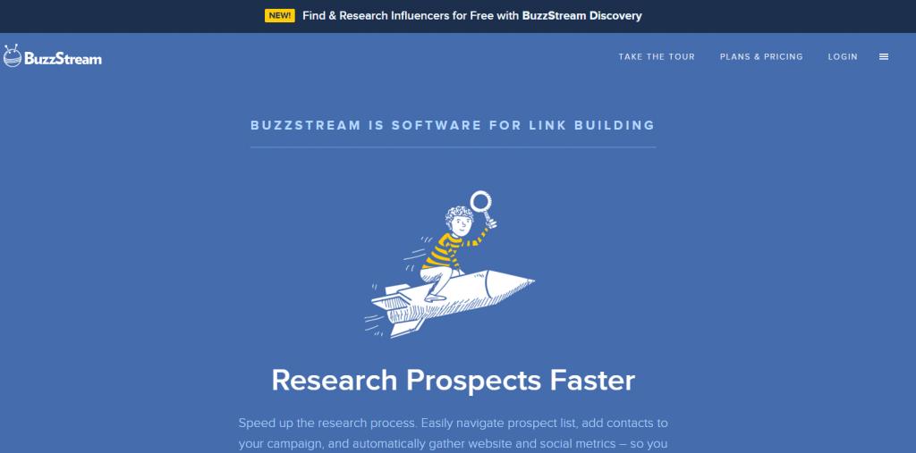 Buzzstream homepage image