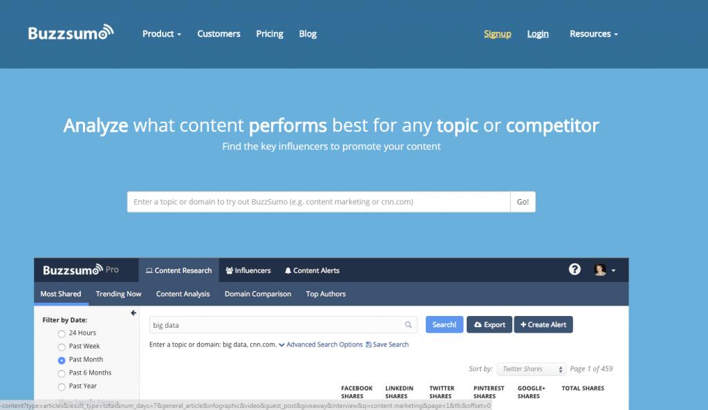 Buzzsumo homepage image