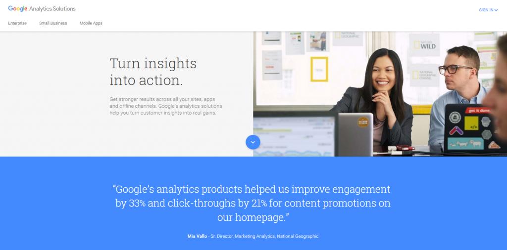 Image of Google Analytics Solutions Hompeage