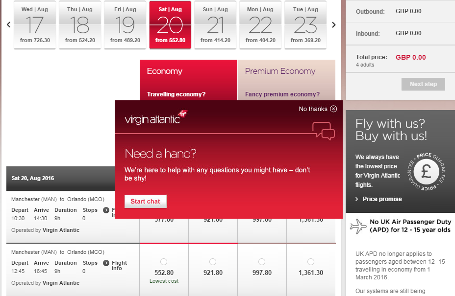 Virgin Atlantic Live Chat Window