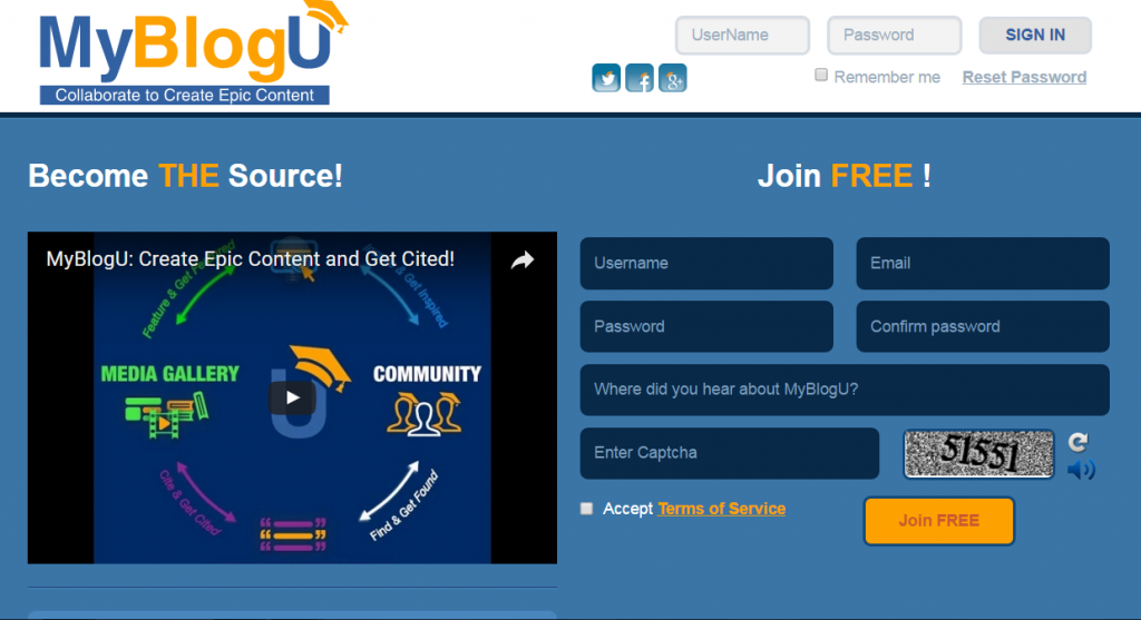 Image of MyBlogU.com homepage