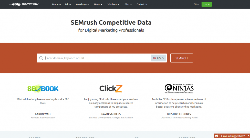 SEMrush homepage image