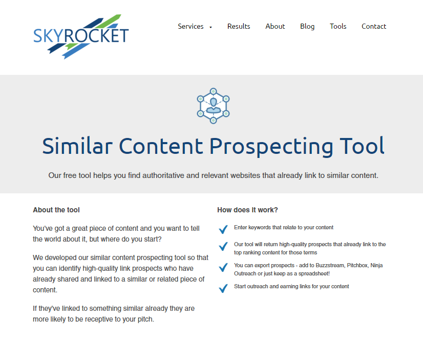 image of Skyrocket.digital similar content tool homepage