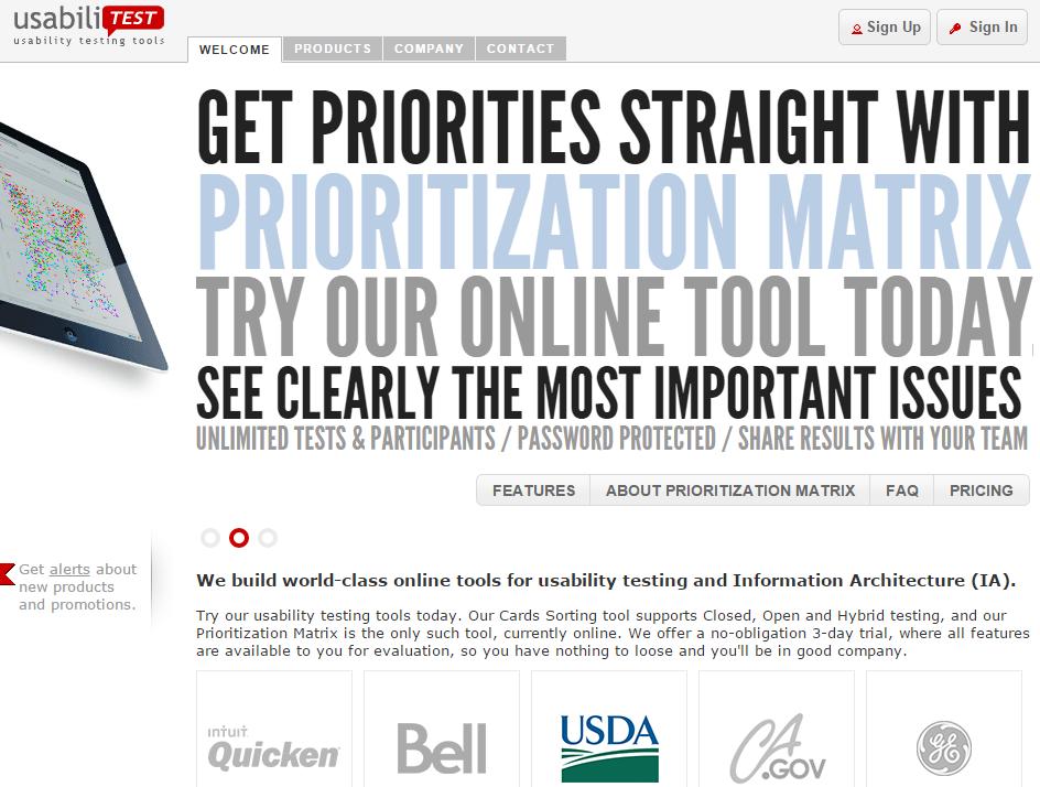 Image of UsabiliTest.com homepage