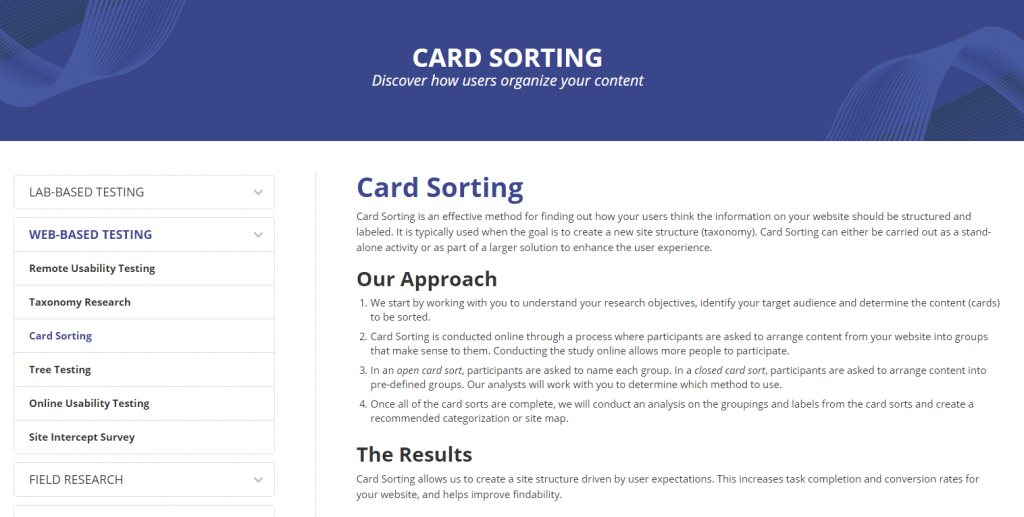 Image of Card Sorting page from Usability Sciences
