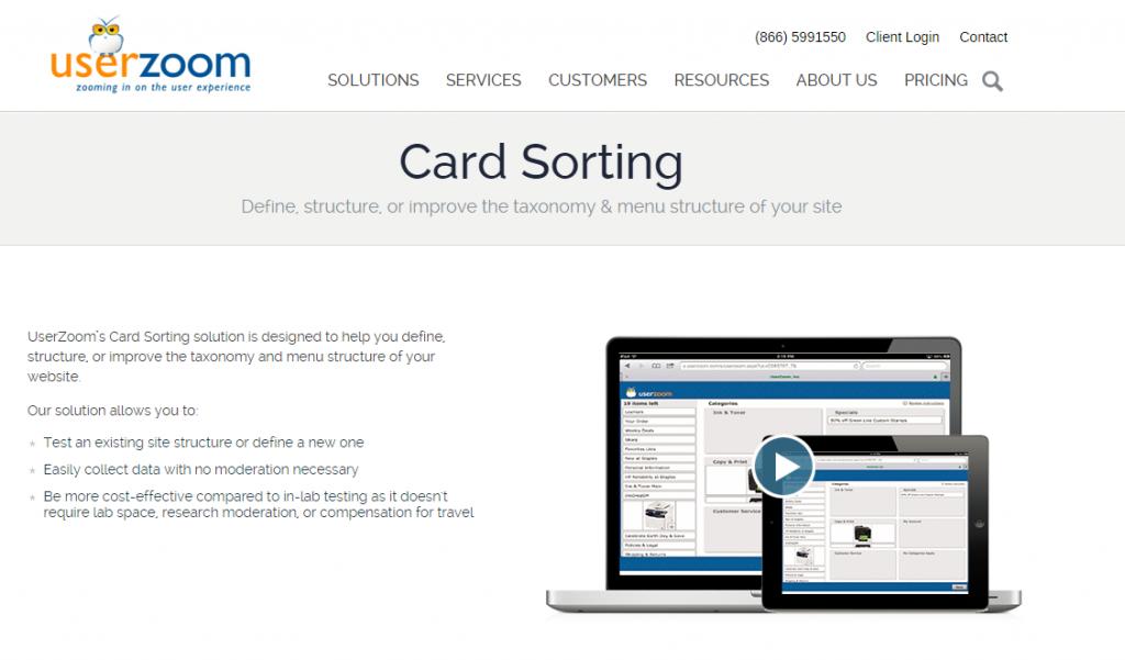 Image of Userzoom.com homepage