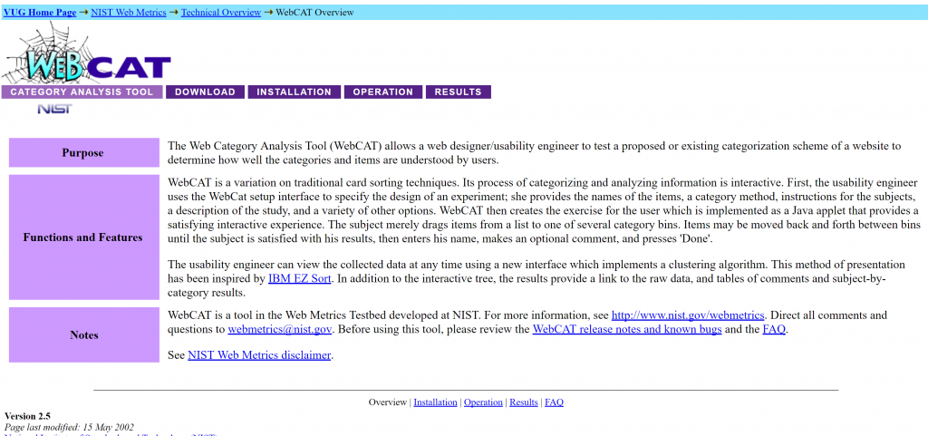 Image of WebCat page from http://zing.ncsl.nist.gov/WebTools/WebCAT/overview.html