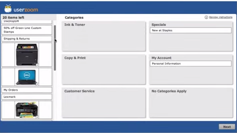 Image of online card sorting screen