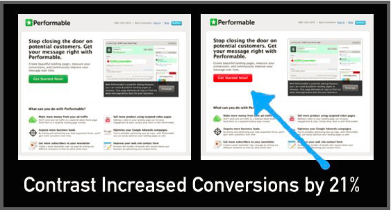 Image of A/B tests of two web pages with different button contrast