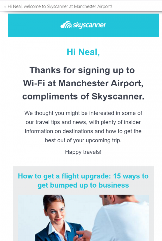 Image of email from Skyscanner displaying my name
