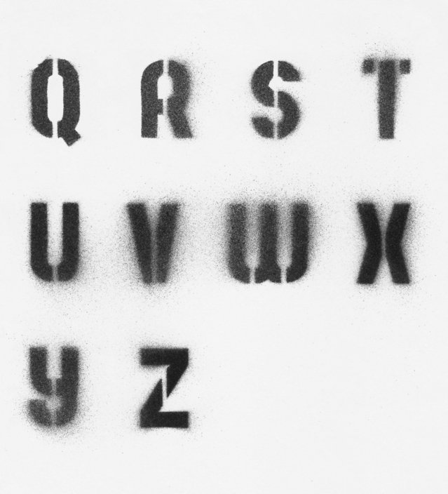 image of stencil of letters q to z