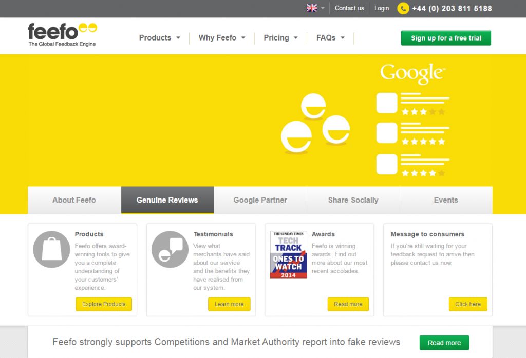 Feefo rating and reviews plaform Homepage image