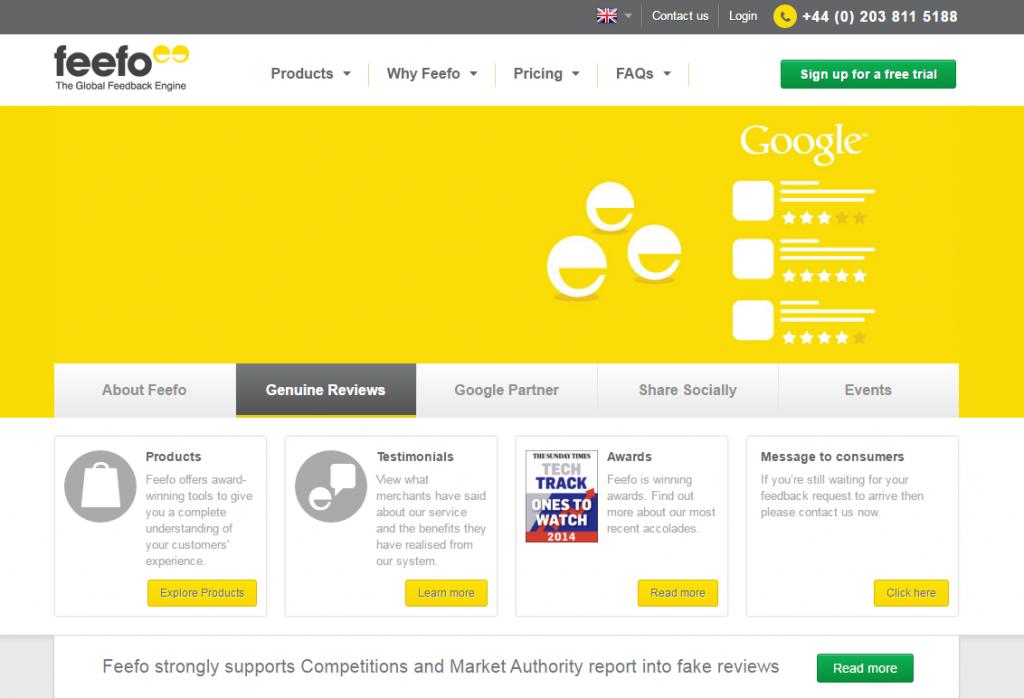 Feefo Homepage image