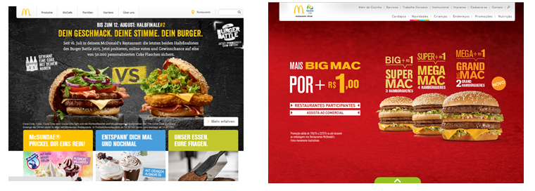 Image of McDonalds hompeage for Germany and Brazil showing how design and culure are interrelated